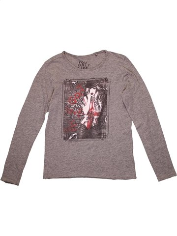 T-shirt manches longues fille TEDDY SMITH gris 10 ans hiver #1215977_1