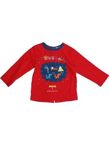 T-shirt manches longues garçon DPAM rouge 12 mois hiver #1273488_1
