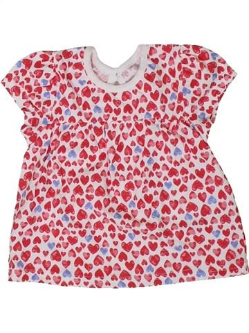 T-shirt manches courtes fille GEORGE rose 3 mois été #1307486_1