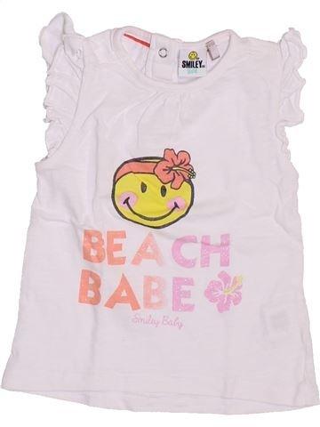 T-shirt manches courtes fille SMILEY blanc 12 mois été #1354011_1
