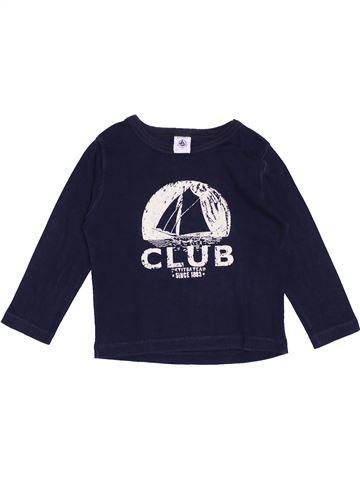 T-shirt manches longues garçon PETIT BATEAU bleu 4 ans hiver #1370674_1