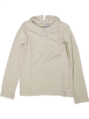 T-shirt manches longues fille PETIT BATEAU blanc 5 ans hiver #1370886_1