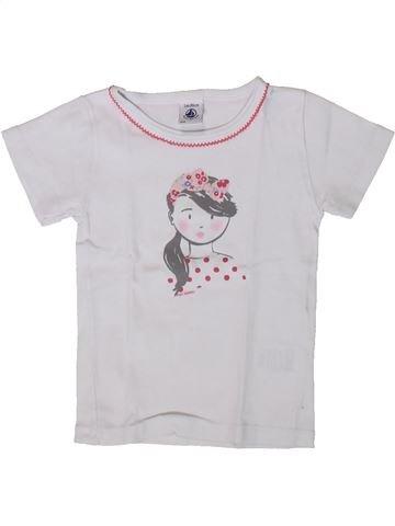 T-shirt manches courtes fille PETIT BATEAU blanc 2 ans été #1371418_1