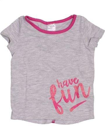 T-shirt manches courtes fille DÉCATHLON gris 2 ans été #1389414_1