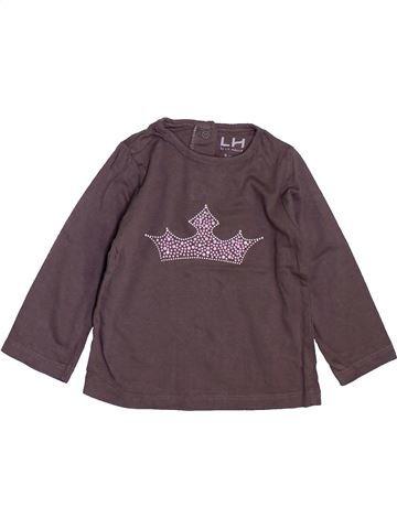 T-shirt manches longues fille LH BY LA HALLE marron 9 mois hiver #1398150_1