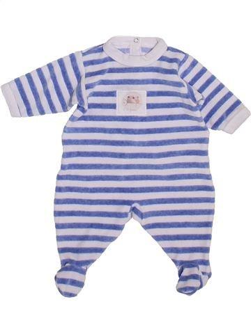Pyjama 1 pièce garçon PETIT BATEAU blanc 1 mois hiver #1400339_1