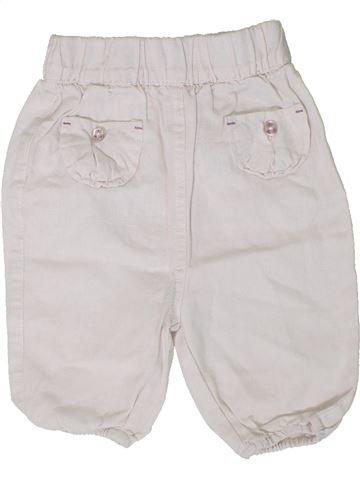 Pantalon fille TAPE À L'OEIL blanc 12 mois été #1401237_1