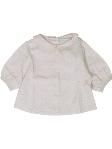 Blouse manches longues fille OKAIDI blanc 1 mois hiver #1401319_1
