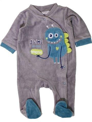 Pijama de 1 pieza niño GEMO gris 3 meses invierno #1402101_1