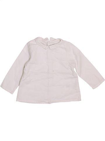 Blouse manches longues fille CYRILLUS blanc 9 mois hiver #1409627_1