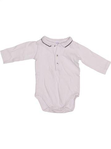 Polo manches longues garçon BOUT'CHOU blanc 3 mois hiver #1418986_1