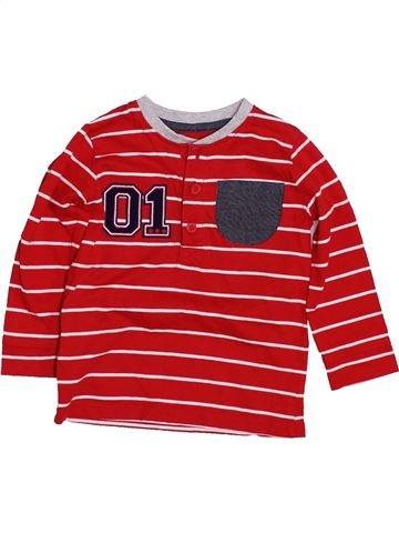 T-shirt manches longues garçon GEORGE rouge 12 mois hiver #1426869_1