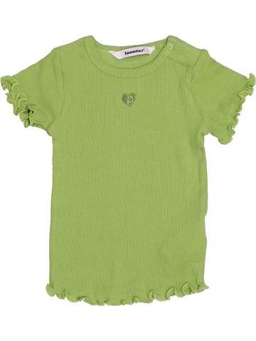 T-shirt manches courtes fille 3 POMMES vert 12 mois été #1440154_1