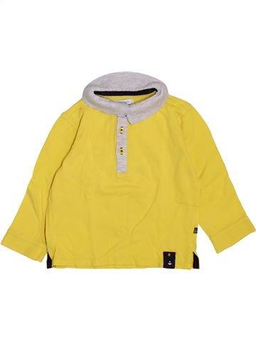 Polo manches longues garçon OKAIDI jaune 18 mois hiver #1447734_1