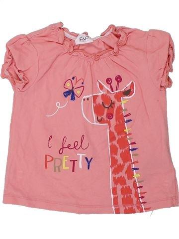 T-shirt manches courtes fille F&F rose 9 mois été #1449560_1