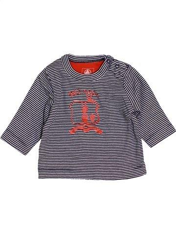 T-shirt manches longues garçon PETIT BATEAU violet 3 mois hiver #1454793_1