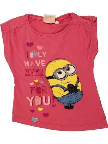 T-shirt manches courtes fille LES MINIONS rose 3 ans été #1461244_1