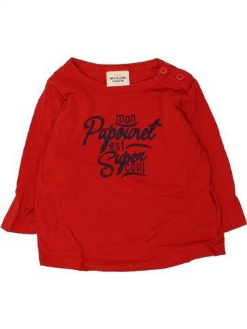 T-shirt manches longues garçon TAPE À L'OEIL rouge 6 mois hiver #1462018_1