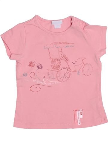 T-shirt manches courtes fille OKAIDI rose 6 mois été #1492226_1