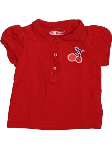 Polo manches courtes fille DPAM rouge 12 mois été #1492765_1