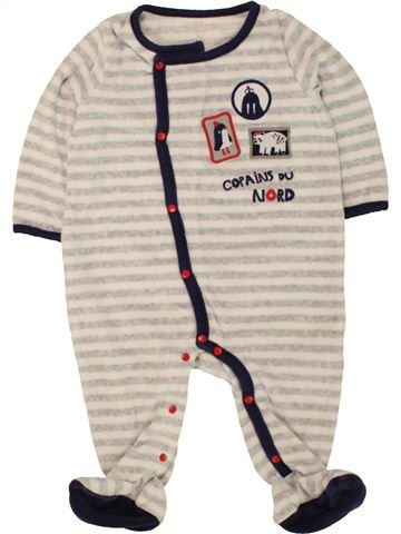 Pyjama 1 pièce garçon DPAM blanc 12 mois hiver #1496436_1