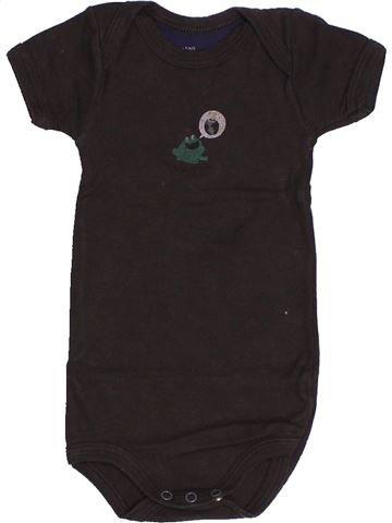 T-shirt manches courtes garçon PETIT BATEAU marron 3 mois été #1500877_1