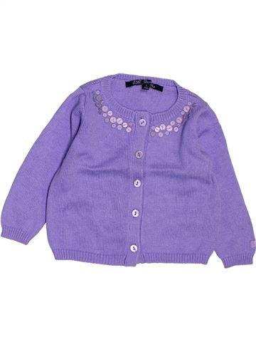 Gilet fille LILI GAUFRETTE violet 12 mois hiver #1507294_1