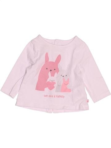 T-shirt manches longues fille OKAIDI rose 3 mois hiver #1513409_1