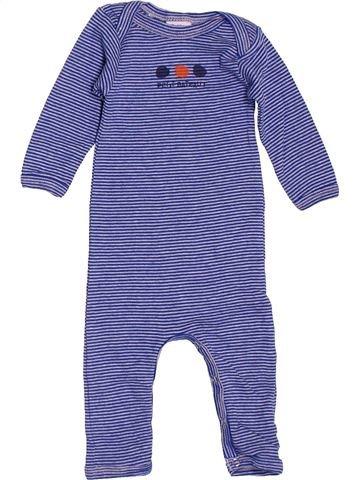 Combinaison longue garçon PETIT BATEAU violet 3 mois hiver #1519546_1