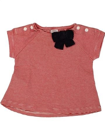 T-shirt manches courtes fille PETIT BATEAU rouge 12 mois été #1553538_1