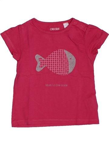 T-shirt manches courtes fille OKAIDI rose 18 mois été #1561490_1